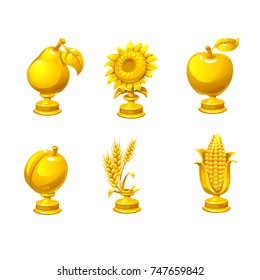 Set of gold award. Trophy icons for games. Golden plant as a reward for the game. Cartoon reward for winner. Icons set  for GUI assets. User interface for game design. Vector illustration