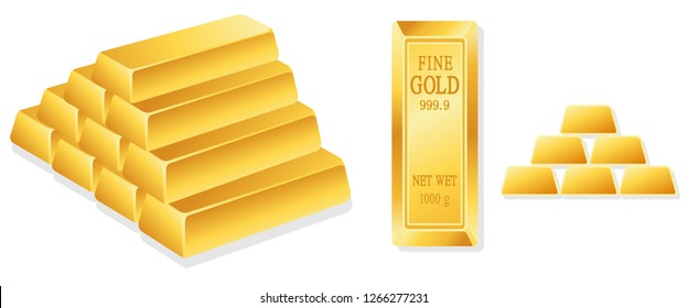 Set gold bar isolated on white background graphic vector
