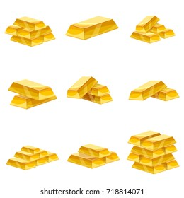 Set of gold bars icon. Cartoon style, illustration, vector icon for web, games, applications