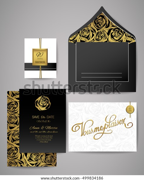 Set Gold Black Floral Invitation Cards Stock Vector Royalty