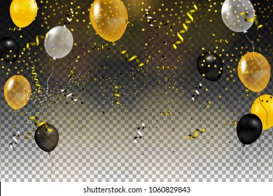 Set of gold, black, yellow, white helium ball isolated in the air. Celebration background template with balloons, confetti and ribbon on a transparent background. Vector illustration.