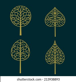 Set of gold bodhi leaf symbol and pattern isolated on dark background, vector illustration