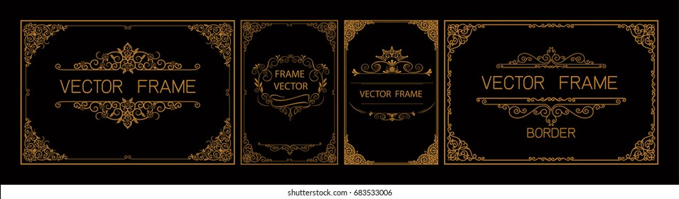 Set of Gold borders photo frames with corner thailand line floral for picture, Vector frame design decoration pattern style. frame border design is patterned Thai style