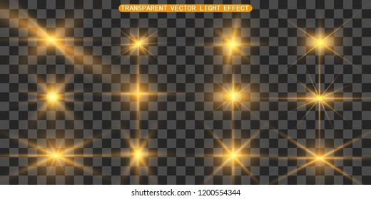 Set of gold bright beautiful stars. Light effect Bright Star. Beautiful light for illustration. Christmas star. White sparks sparkle with a special light. Vector sparkles on transparent background