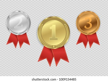 Set of gold,  bronze and silver.  Award medals isolated on transparent background. Vector illustration of winner concept.