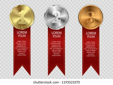 Set of gold, bronze and silver. Winner award competition, prize medal and banner for text. Award medals isolated on transparent background. Vector illustration of winner concept.