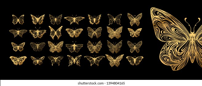 Set of gold butterflies, ink silhouettes. Glowworms, fireflies and butterflies icons isolated on white background. Hand drawn elements, Vector illustration.