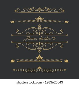 Set of gold calligraphical, flower elements of design. Execution of the page. Allocation of the text in vintage style. Typographical dividers, jewelry for books.
