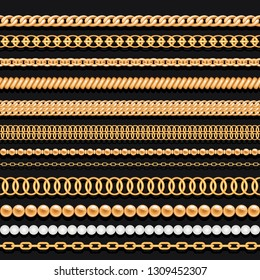 Set of gold chains, ropes and pearls on black background. Seamless brushes for design.