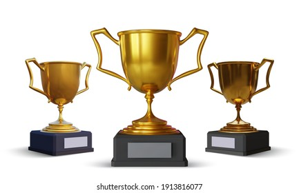 Set of gold champion cup with reflection and shadow isolated on white background. Sport tournament award. Vector illustration