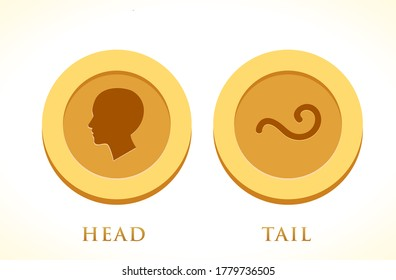 A set of Gold coin. Head and Tail. Isolated Vector Illustration