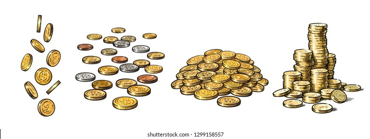 Set of gold coins in different positions. Falling dollars, pile of cash, stack of money. Hand drawn sketch style collection isolated on white background. Vector illustration.