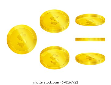 Set of gold coins, falling, 3d, editable elements, realistic icon, isolated on white, transparent background for casino banner, money rain, cash, jackpot, luck win...