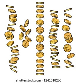 Set of gold coins falling in different perspective, angles, directions in sketch style. Dropping dollars, pile of cash, stack of money. Cartoon finance set. Hand drawn isolated vector illustration.