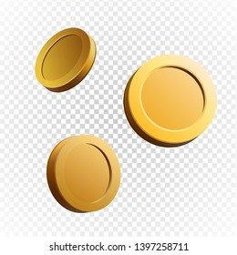 Set of gold coins. Isolated 3d objects in different angles. metallic gradient. Symbol of gold and wealth. Free space for your text. Vector illustration.