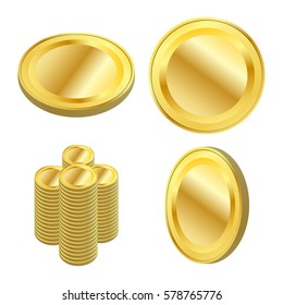 Set of gold coins. Isolated vector. One at various angles. And a handful.