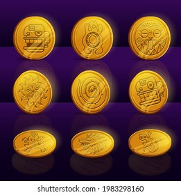 Set of gold coins with Mayan or Aztec tribal animals and idols. Ui game assets, Mexican mesoamerican ethnic money. Ancient civilization vector signs dragon or lion head, lizard, turtle and snake, sun