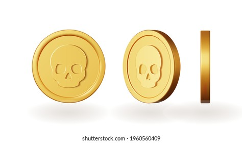Set of gold coins with skull. Isolated 3d objects in different angles. metallic  gradient. mark symbol. Vector  illustration.