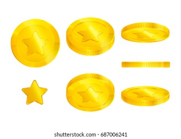 Set of gold coins with star, 3d, editable elements, realistic icon, isolated, transparent background for casino banner, money rain, cash, jackpot, luck win, game, web...