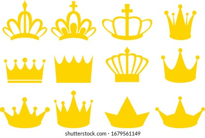 Set of gold crown icons. Collection of crown awards for winners, champions, leadership.