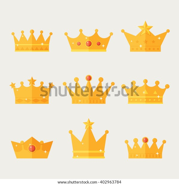 Image Vectorielle De Stock De Ensemble D Icones De Couronne Doree Collection 402963784