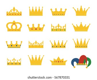 Set of gold crowns and jester's hat. Collection of crown awards for winners, champions, leadership. Vector isolated elements for logo, label, game, hotel, an app design.