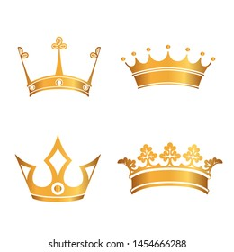 Set of gold crowns. VECTOR