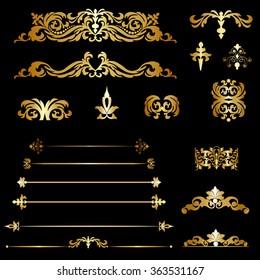 Set gold decorative elements on a black background
