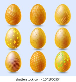 Set of gold eggs on pale background. Happy Easter day vector clipart. Vector illustration