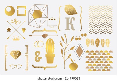 Set of gold elements for design.Brackets, branch, oats, rings, cactus crown, diamond, wave ligature, leaves, letter, wave, star, glasses and others. White background.