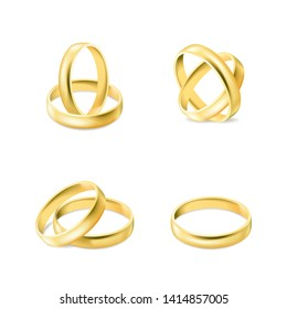 Set of gold engagement rings isolated on white background, jewelry for married couple, wedding decoration elements, vector illustration