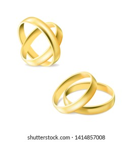 53a6e575 Set of gold engagement rings isolated on white background, jewelry for  married couple, wedding