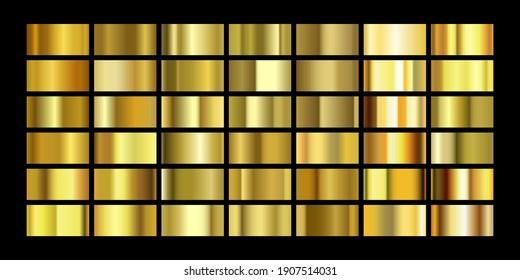 Set of gold foil texture background. Golden squares collection. Vector illustration
