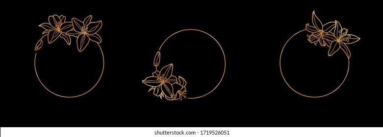 Set of Gold frame template Lily Flower and monogram concept in minimal linear style. Vector floral logo with copy space for letter or text. Emblem for Cosmetics, Fashion, Beauty