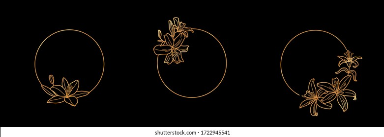 Set of Gold frame template Lily Flower and monogram concept in minimal linear style. Vector floral logo with copy space for letter or text. Emblem for Cosmetics, Fashion, Beauty, invitation