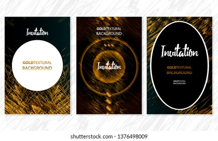 Set of gold frames black glitter effect on dark background artistic covers design colorful realistic texture modern graphic