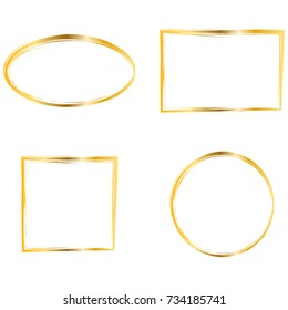 Set of Gold frames. Simple golden design. Oval, round, rectangle, square frames. Gold border, isolated on white background. Vector illustration