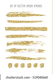 Set of gold glitter brush strokes. Vector illustration.