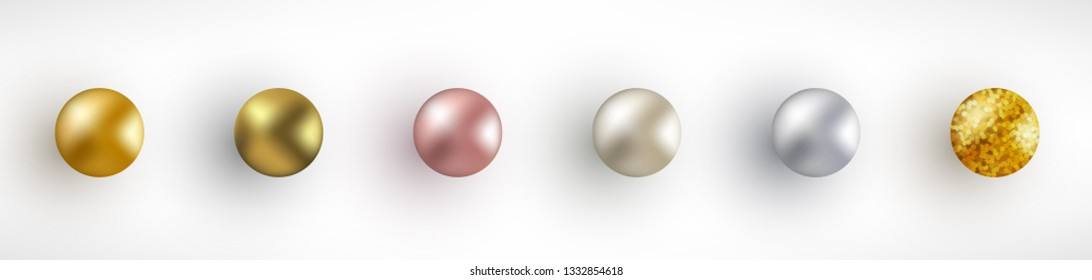Set of Gold glossy sphere isolated on white background. Rose gold, platinum, glitter, silver, pearl, bronze beads. Realistic Balls vector illustration