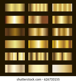 Set of Gold gradient background vector texture metallic illustration.