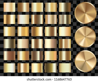 Set of Gold gradients,  gold glossy squares and circles. High resolution. Gradient mesh