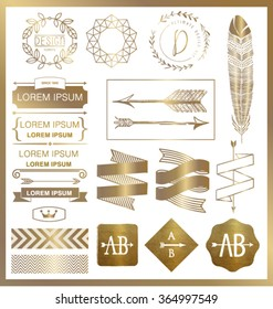 SET OF GOLD GRAPHIC DESIGN LOGO ELEMENTS.Can be used for labels, packages, greeting cards, prints, web design, fashion projects, leaflet, cosmetics etc. Vector file.