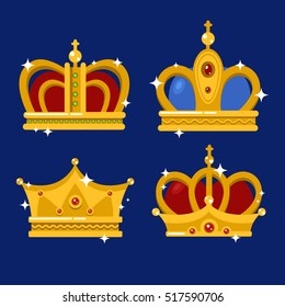 Set of gold king crown or pope tiara. Royal headdress for queen or princess, prince or emperor in vintage or retro style. Coronation or old royalty, jewelry theme, heraldic medieval insignia