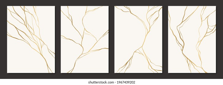 Set of gold kintsugi poster design. Japanese art of repairing broken pottery. Vector crack pattern for home prints, posters, wallpapers. Golden material of kintsugi restoration technique.