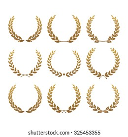 Set from gold laurel wreath