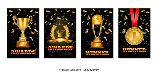 Set of gold laurel wreath award, Championship winner trophy, gold medal award. Realistic vector award banners design templates