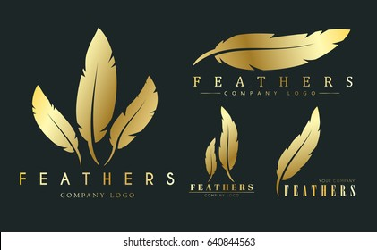 set of gold logos with feathers for writers or publishers. Template on a black background. Vector illustration
