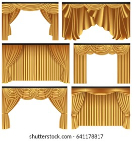 Set of gold luxury curtains and draperies on white background, realistic vector illustration
