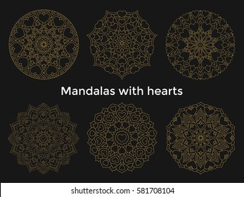 Set gold mandalas with hearts. Collection symmetric circular ornaments.