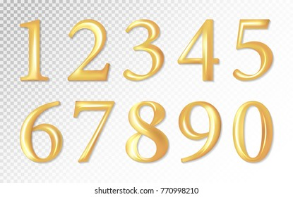 Set of gold matt metal vector numbers, from 1 to 0. Vector image. Transparent background.